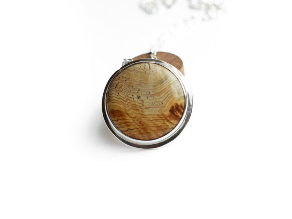 Fossilized wood sterling silver pendant and chain