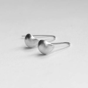 Brushed Sterling Silver Shell Earrings