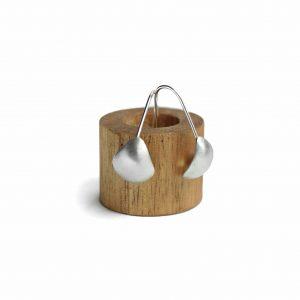 Brushed Sterling Silver Shell Earrings