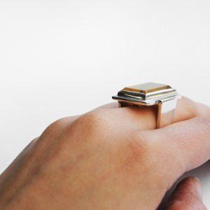 Hand Rutile Quartz sterling silver ring