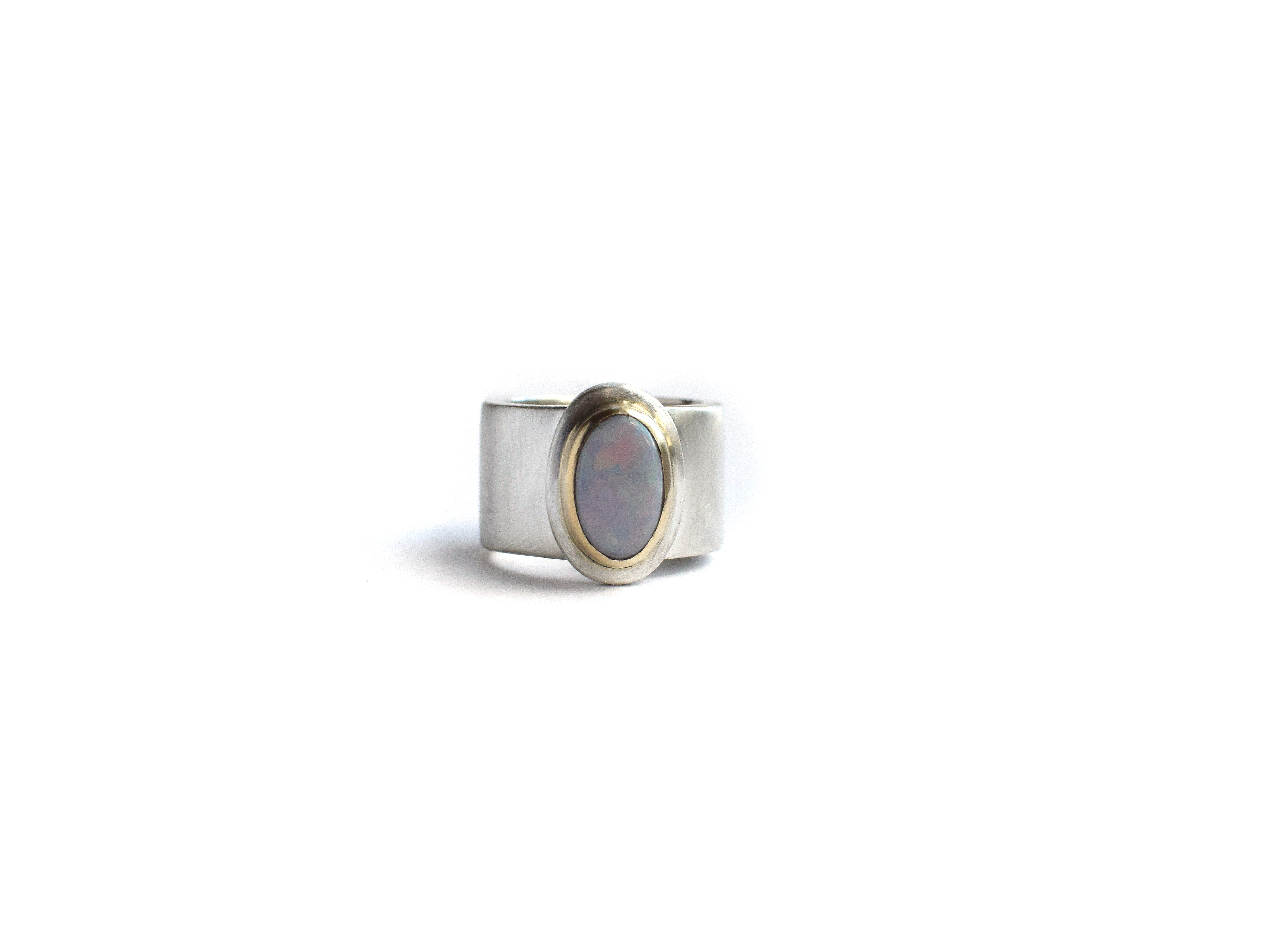 Opal sterling silver 9ct gold ring