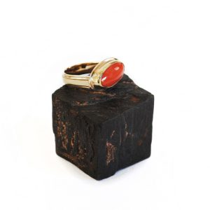 Coral Vintage Gold Handmade Ring