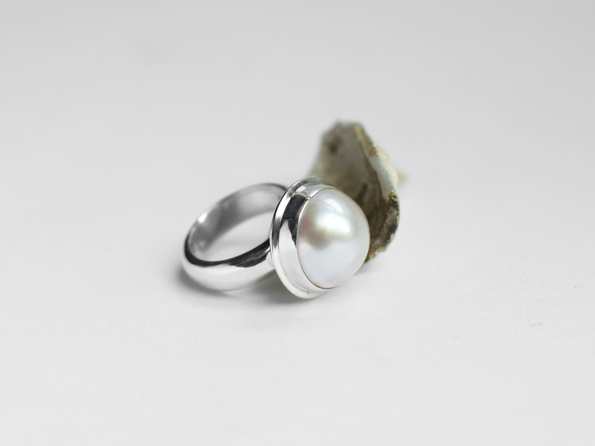 large mabe pearl sterling silver ring glacier jewellery