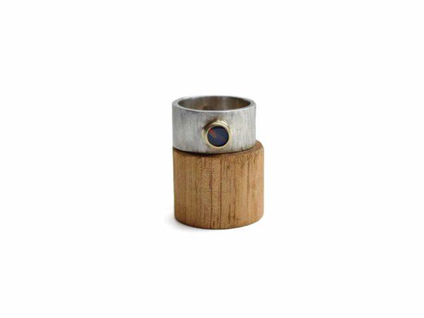 Glacier Jewellery Black opal Doublet ring